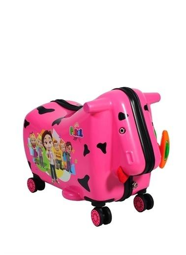 Ox Ox Pırıl Pembe Çekçekli Sert Çocuk Valiz Pembe